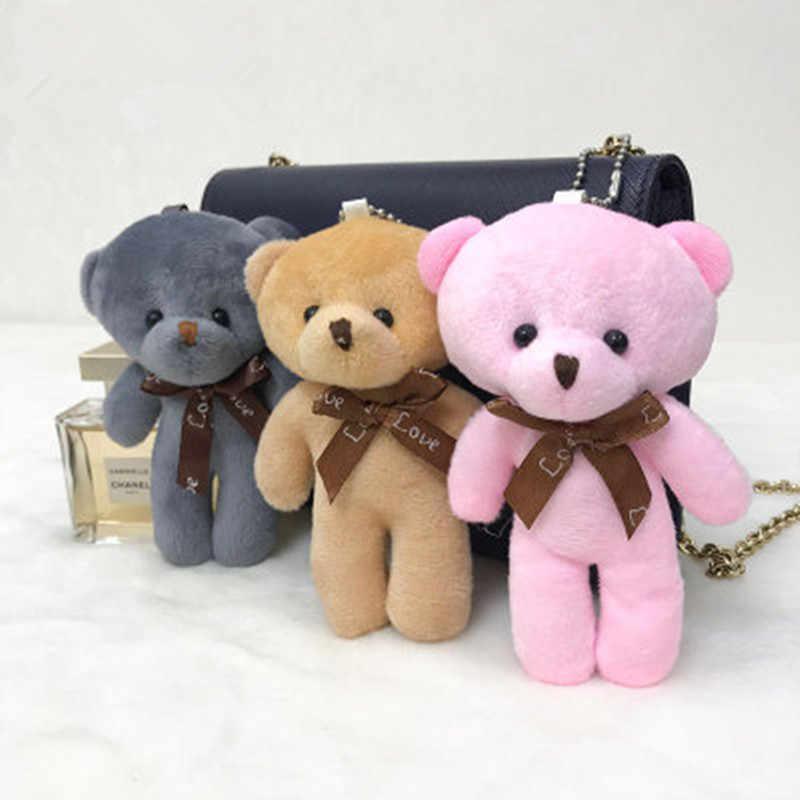 3 Pcs Moda Teddy Bear Boneca de Brinquedo de Pelúcia Saco de Mulher do Anel Chave de Cadeia Encantos Do Falso Pele De Coelho Pom Pom Keychain chaveiro Bugiganga Casamento