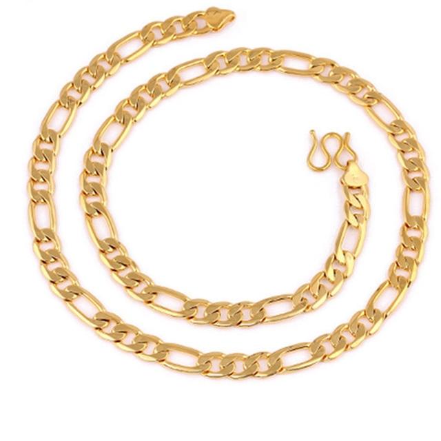 Declaração Jóias Sólido Ouro Amarelo Cheio Mens Colar Figaro Cadeia 8mm de Largura