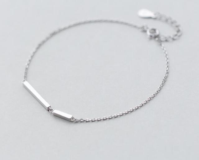 So Thin Real 925 Sterling Silver Jewelry Straight Longer Shorter Bar Design