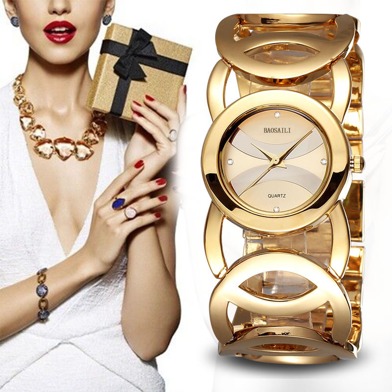 BAOSAILI Brand Imitation Gold Plated Circles Strap Stainless Steel Back Shinning Women Bracelet Watches Fashion Wrist Watch