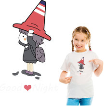 cartoon tricorn girl iron on patches heat transfer ironing stickers For DIY t-shirt  girls clothes patch vetement parches ropa iron on letters patches for clothes ironing stickers heat transfers for t shirt hoodie jeans diy accessory press patch vetement