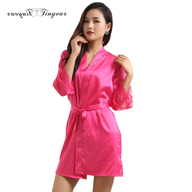 ⑤Nuevo satén caliente kimono trajes para las mujeres V cuello manga ...
