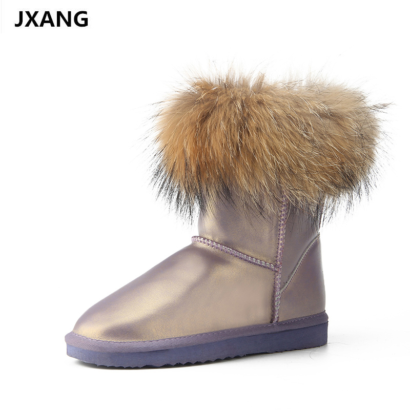 JXANG Women 100% natural real fox fur snow boots fashion boots women of high quality genuine leather Waterproof Boots jxang fashion thick natural fox fur snow boots women boots 100% real leather waterproof winter warm snow boots ankle boots