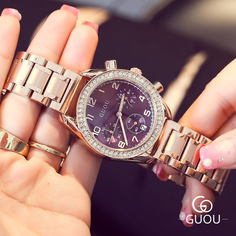 New GUOU Bling Glitter Diamond Rhinestone Luxury Ladies Full Steel Dress Watch Women Fashion Wristwatch Relogio Feminino GiftNew GUOU Bling Glitter Diamond Rhinestone Luxury Ladies Full Steel Dress Watch Women Fashion Wristwatch Relogio Feminino Gift