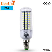ECO Cat E14 LED bulb 220V 56 72 106 leds LED lamp 5730SMD Corn light Chandelier Bulb Spotlight lampada cold white warm white(China)