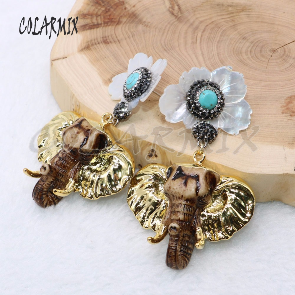 3 Pairs shell flowers earrings elephant earrings with natural shell stone jewelry for women 4670