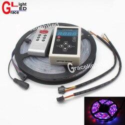 5m rgb sonho magia tira conduzida dc12v 6803 ic ip67 impermeável tira conduzida 5050 smd 150led luz flexível + 133 programa controlador rf