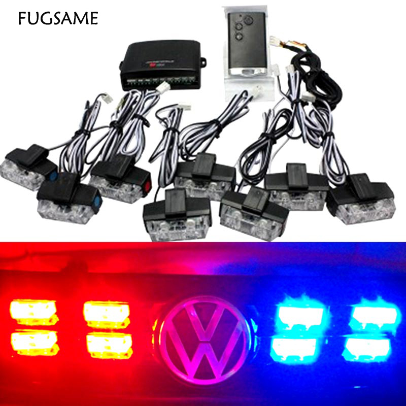 FUGSAME FREE SHIPPING Wireless Control 8*2 LED Fire Truck Flashing Strobe Lights Red,Blue Bulb