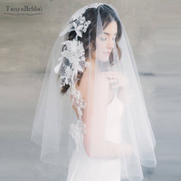 Mantilla Floral Bridal Veil Lace Appliques Fairy Romantic Tulle Veils Wedding Veils Noivas accessories DV027
