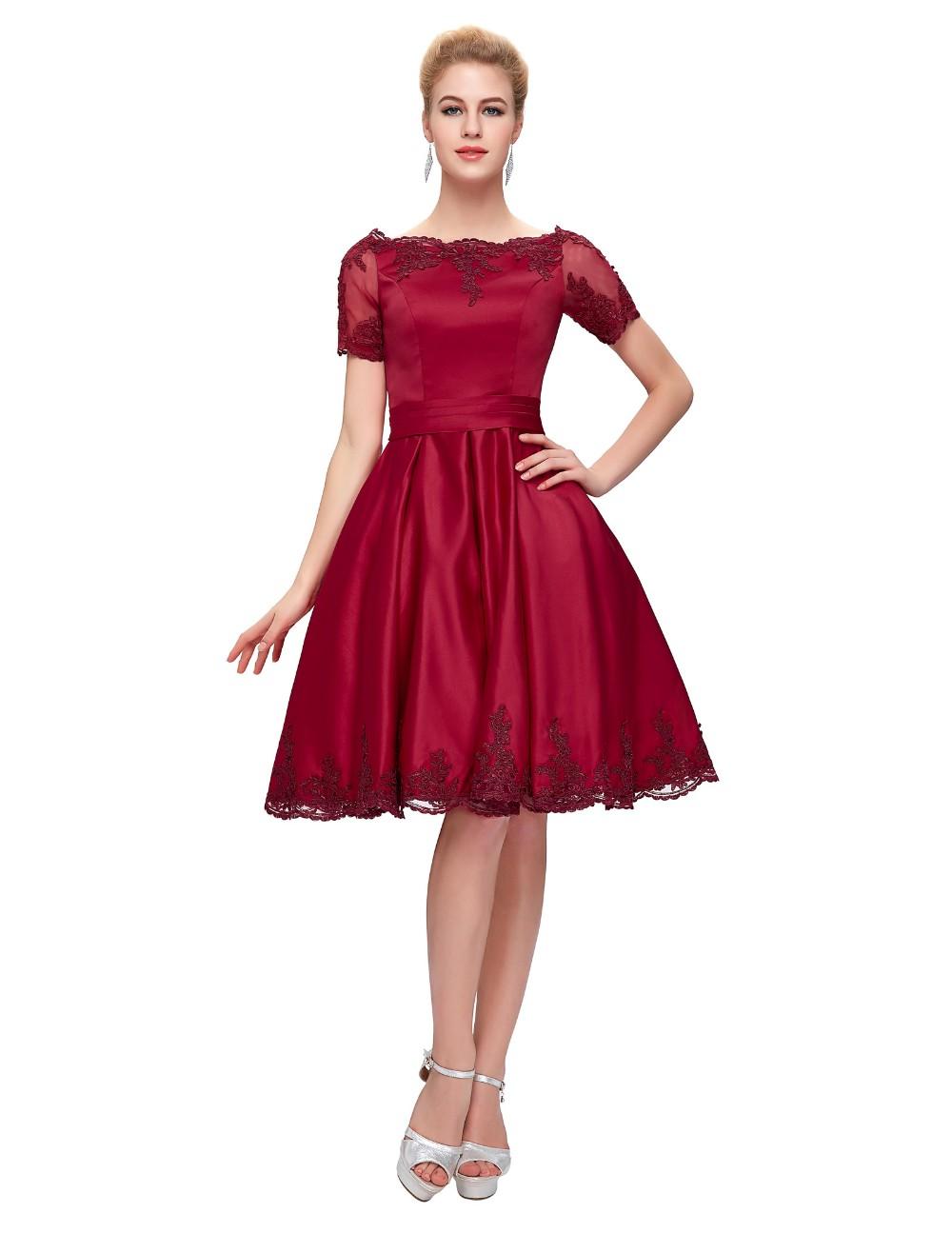 Short Cocktail Dresses 2018 Grace Karin Off The Shoulder robe de Cocktail Wedding Party Dress Satin Champagne Red Coctail Dress 5