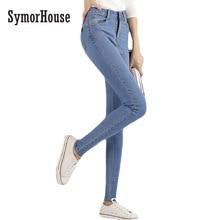 SymorHouse НОВАЯ мода марка женщины тощий карандаш джинсы упругие брюки стиральная цвет хорошее качество женщины повседневная жан брюки