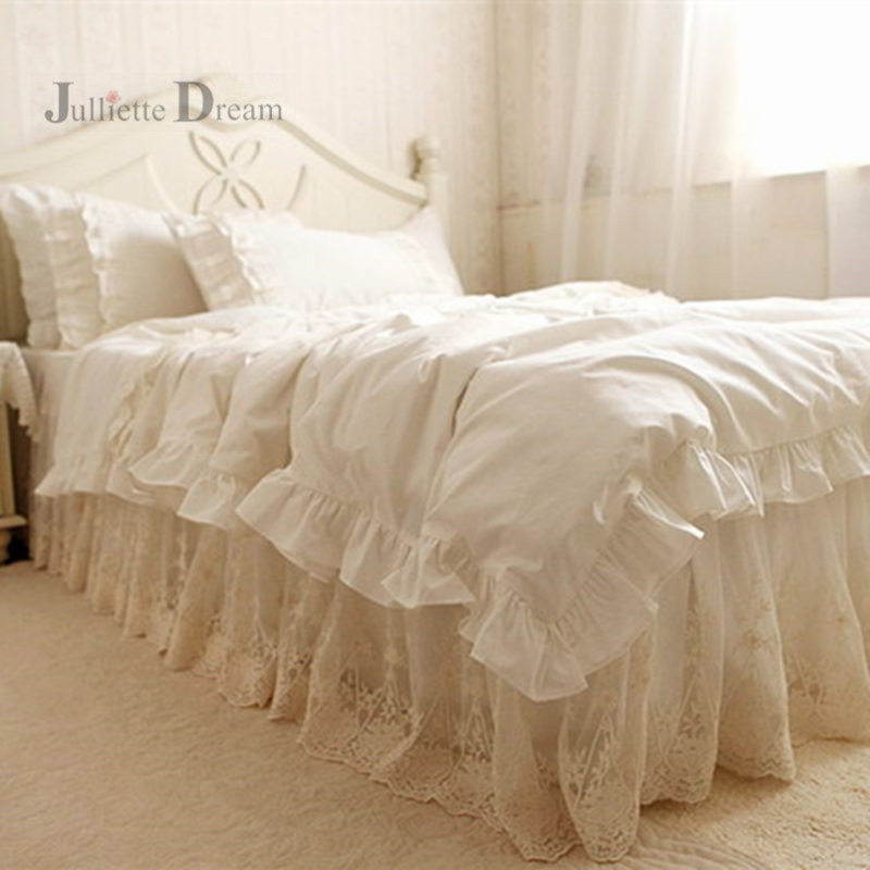 Top Luxury European Bedding set ruffle Duvet cover quilt cover Super Embroidery lace yarn bedspread Double