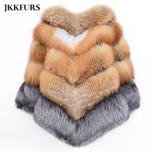 Winter New Big Real Fox Fur Cape Women Thick Warm Fur Gold Red Fox Fur Fashion Silver Fox Shawl Luxury Fluffy Fur Poncho S7485