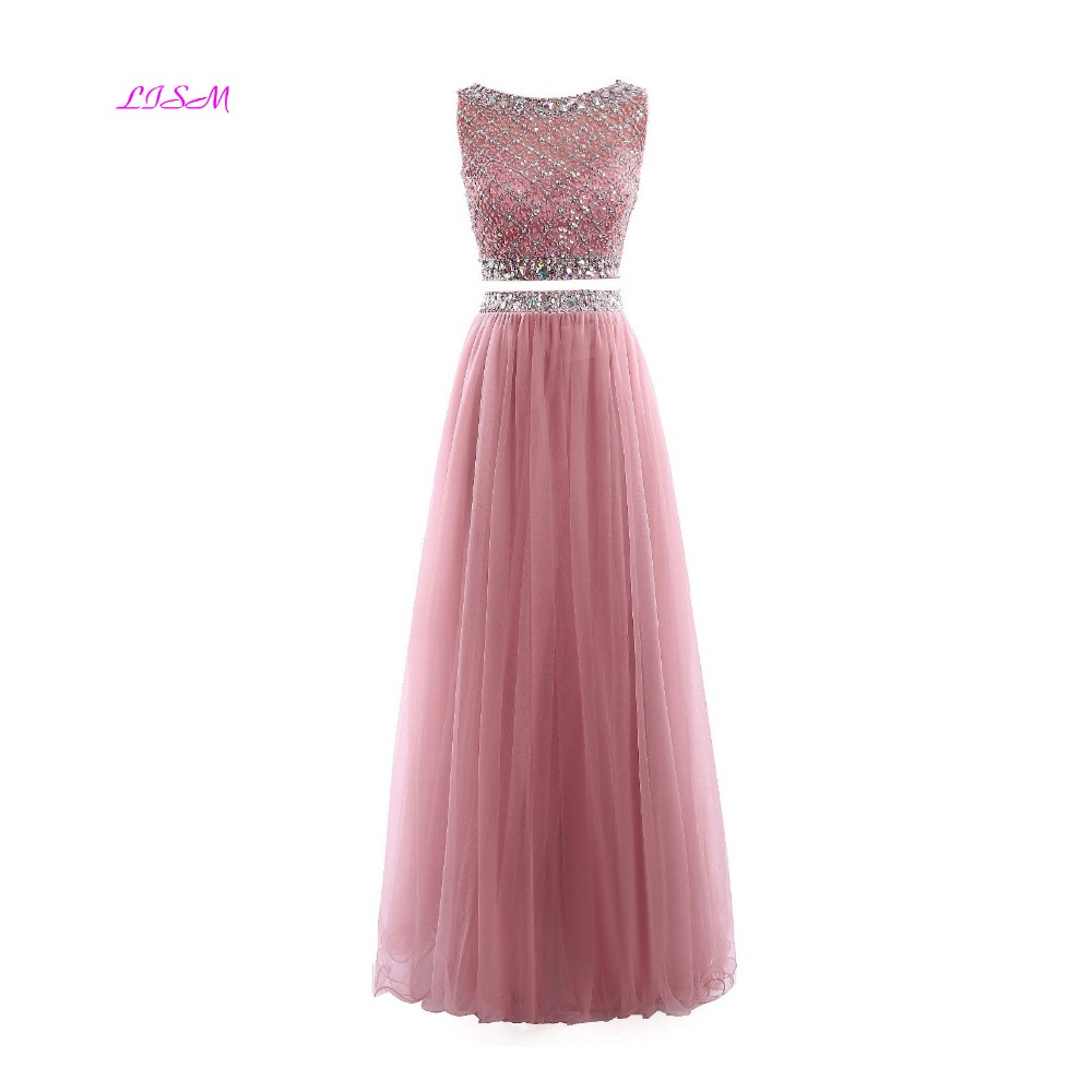 Crystal and Beads Two Pieces Long   Prom     Dresses   Tulle Sequins A Line Formal Gowns robe de festa Scoop Sleeveless Party   Dress   2019