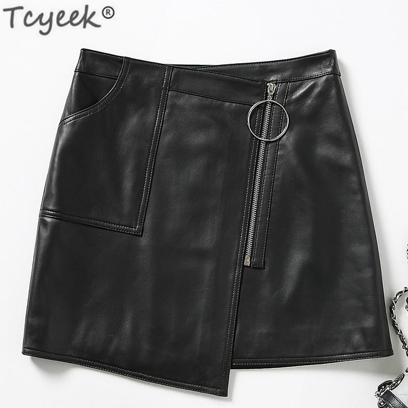 Faldas Noir Mouton Jupe Lwl1603 De Peau Minijupe Cuir Pour Moda Coréen Femme Jupes Réel Sutumn En Printemps Tcyeek Black Véritable Mujer 2019 6avwF