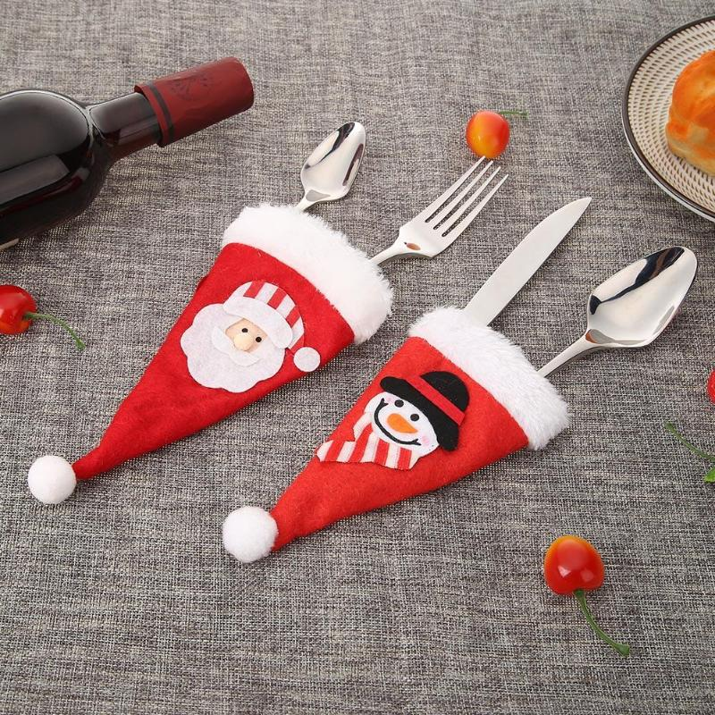 Cute Non-Woven Fabric Christmas Knife Fork Bag Christmas Decorations For Home  Xmas Party Dinner Decor Kitchen Accessories