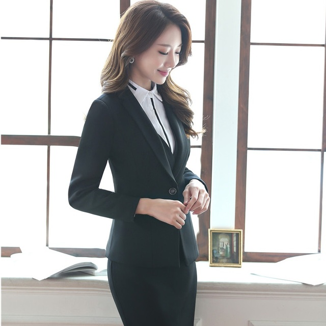 240eb9e4d0e Formal Slim Fashion Autumn Winter Blazers Suits For Ladies Professional  Office Work Wear Business Blazer Outfits Plus Size