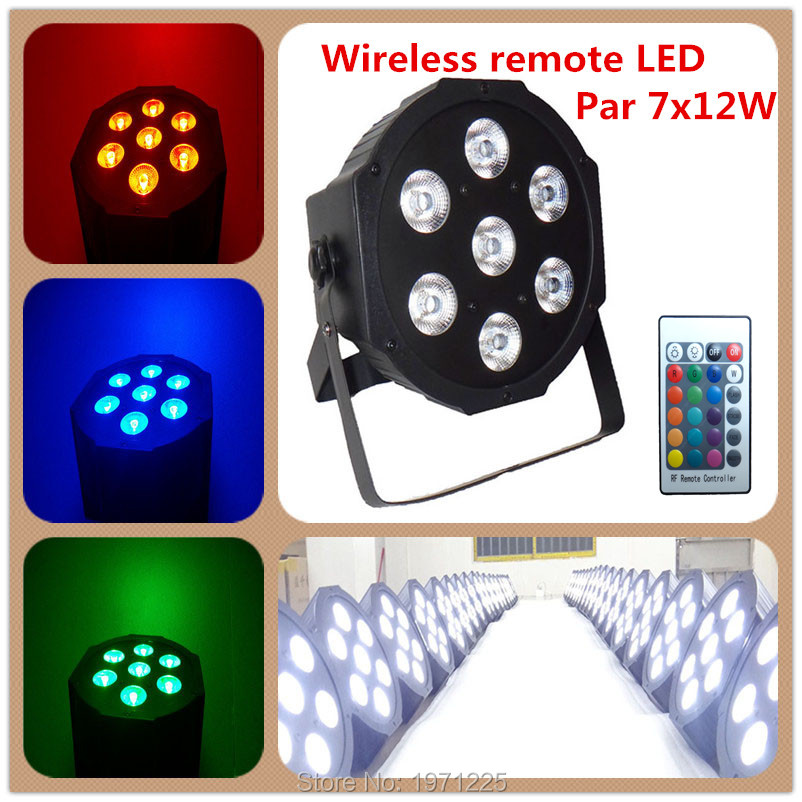 Free&Fast shipping Wireless remote control The brightest 8 dmx Channels  Led Flat Par 7x12W RGBW 4IN1 chandelier  4pcs lot the brightest 4 8 dmx channels led flat par 18x12w rgbw 4in1 led par can light with power in power out