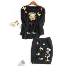 Europe and the United States ladies's new autumn 2016 Cartoon embroidered long-sleeved sweater knit + skirt vogue fits