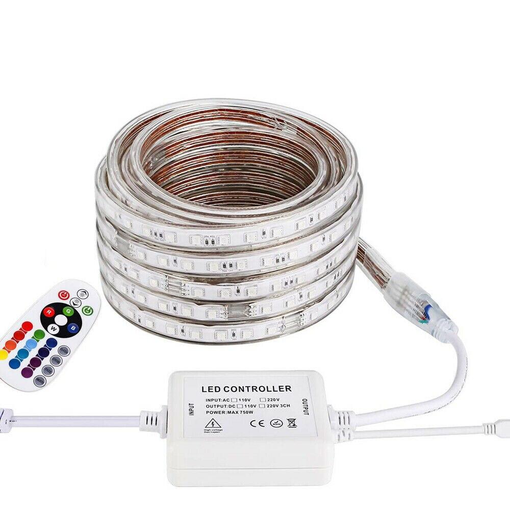 LED Strip Light 220V-240V 2835 100LED//M IP67 Waterproof Tape Lights Rope+EU Plug