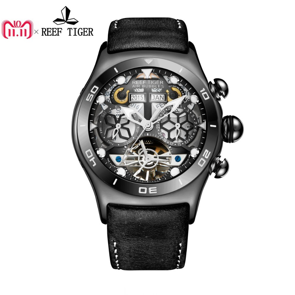 цена Reef Tiger/RT Mens Sport Watches Skeleton Tourbillon Watches with Year Month Calendar Automatic Watches RGA703