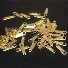 """20 штук Engaved в виде буквы S. Сталь """"золото Цвет Нержавеющая сталь конец Tab найти теги для самодельная цепочка заканчивается 10x3 мм"""