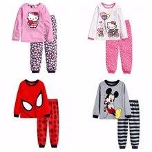 Новые детские пижамные костюмы для маленьких мальчиков футболка с длинными рукавами и рисунком+ штаны, комплект одежды для сна пижамы 2-7Y