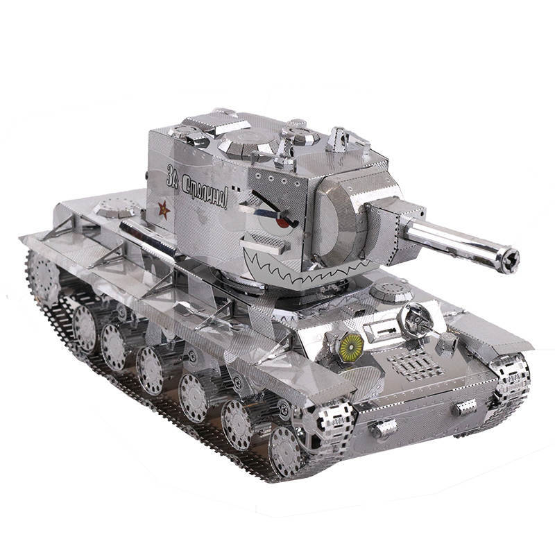 MU 3D Metal Puzzle War 2 Russia KV 2 Tank model YM-N022-S educational DIY 3D Laser Cut Assemble Jigsaw Toys for kids gift
