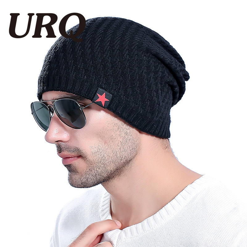 URQ   Skullies   for man Red Star hat winter   beanie   man skully Knitted acrylic   beanies   men Winter warm caps casual style H7007