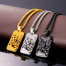 Brand Steampunk Gear Rotatable Pendant & Necklace Statement Black Stainless Steel Gold Color Chain For Men Kpop Jewelry P929