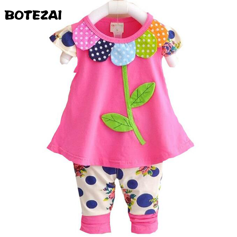New 2017 Kids Baby Girl Clothing Set Bowknot Summer Floral T-shirts Tops and Pants Leggings 2pcs Cute Children Outfits Girls Set