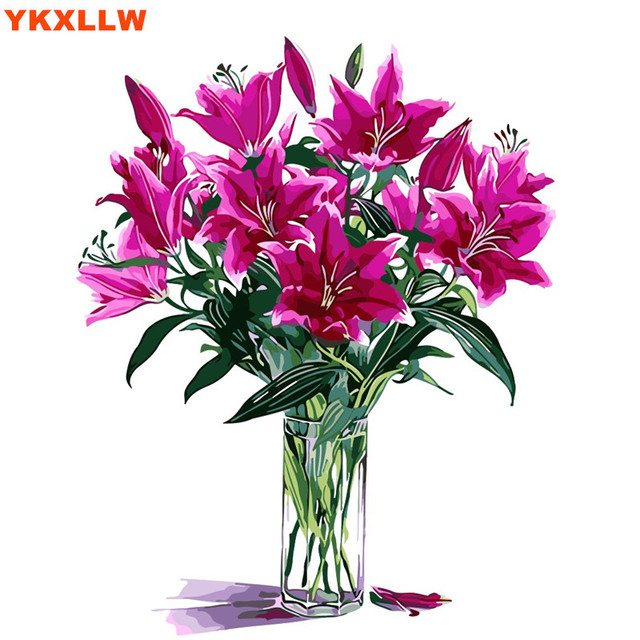 Romantique Fleur Pourpre Peinture Par Numeros Peinture A L Huile