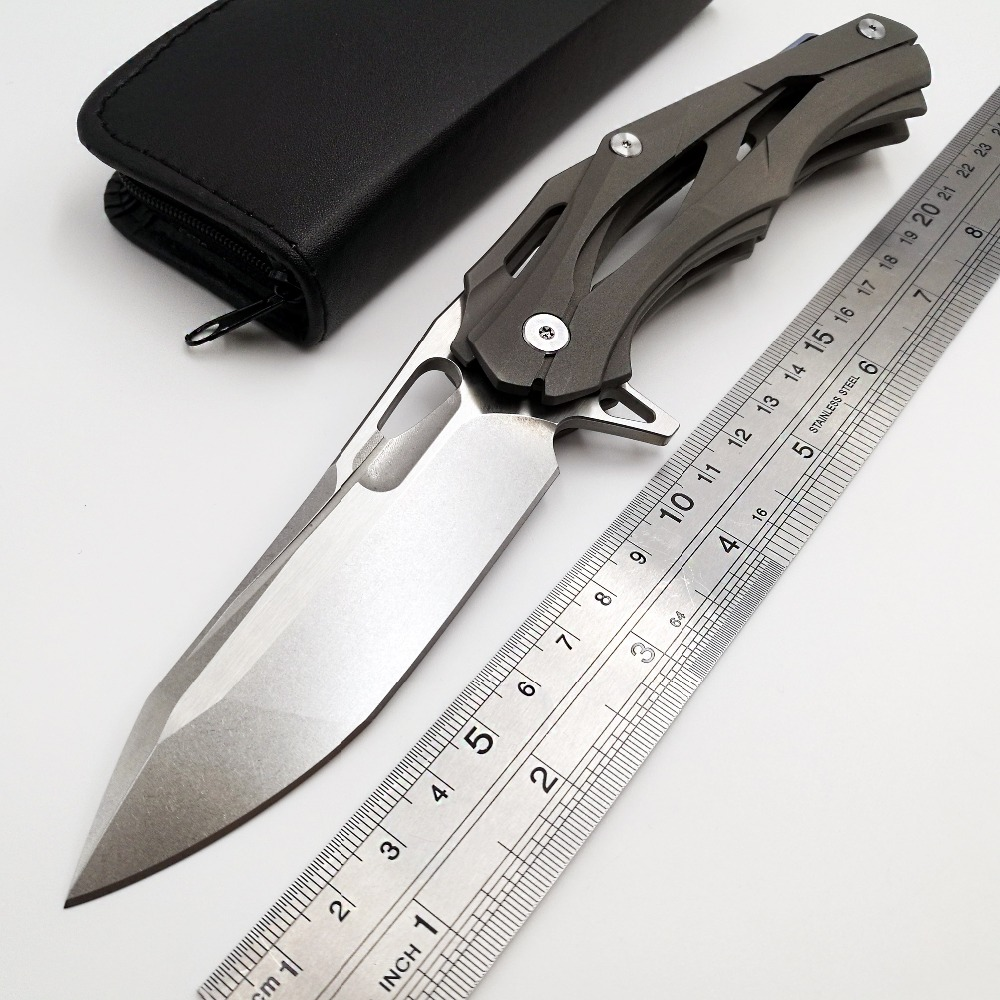 JSSQ Tactical Folding Knife D2 Blade TC4 Titanium Handle Flipper Pocket Knife Outdoor Camping Survival Hunting
