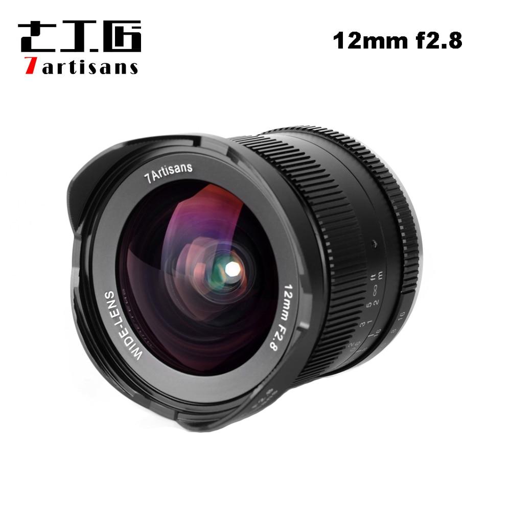 7 artigiani 12mm F2.8 Ultra Wide Angle Lens per Sony E-mount NEX-APS-C Fotocamere Mirrorless A6500 A6300 A7 messa A Fuoco manuale Prime Obiettivo Fisso