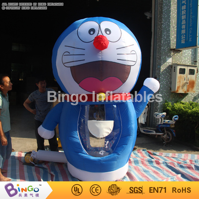 hot sale 2.5m  Doraemon movie cartoon Inflatable Money grab Cash Cube Money Booth with blowers inflatable game BG-A0794 toy