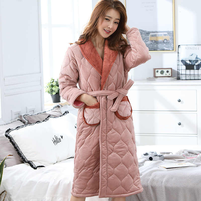 High Quality Winter Thick Warm Women Flannel Robe Long Sleeve Solid Fashion  Leisure Comfortable Female Homewear e90496160