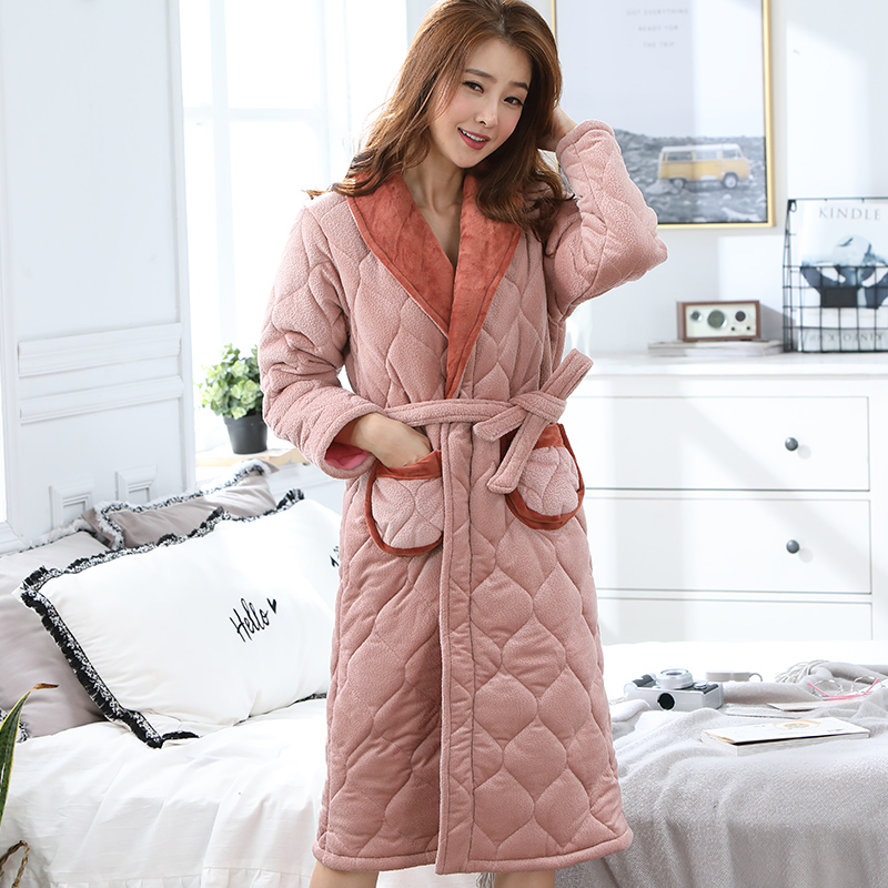 e5234dc558 Detail Feedback Questions about High Quality Winter Thick Warm Women  Flannel Robe Long Sleeve Solid Fashion Leisure Comfortable Female Homewear  Bathrobe M ...