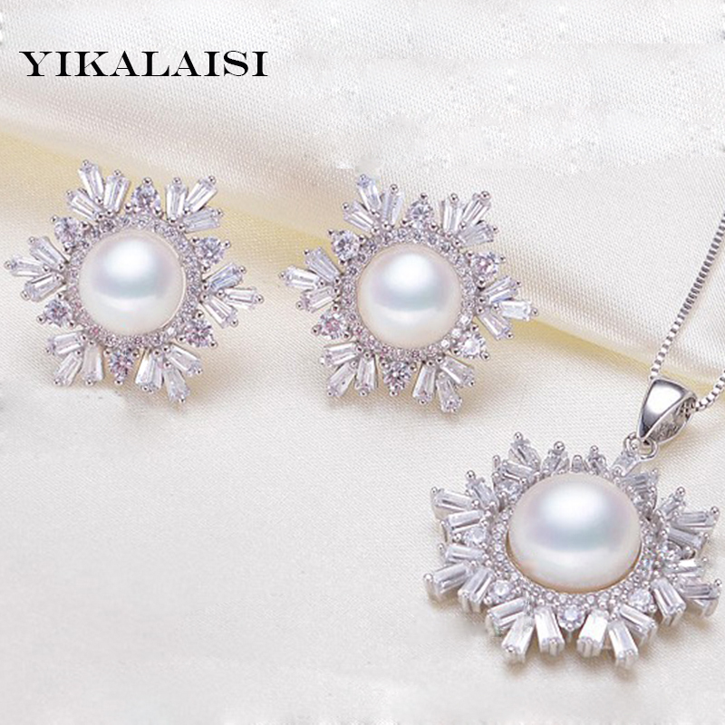 YIKALAISI 2017 100% natural freshwater pearl jewelry set snowflake 925 sterling silver jewelry necklace earrings for women gift crystal jewelry set sterling silver jewelry 100% 925 formal jewelry set natural freshwater pearl
