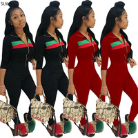 Rompers women jumpsuit 2018 new style striped bodysuit women long pants skinny overalls A7545L