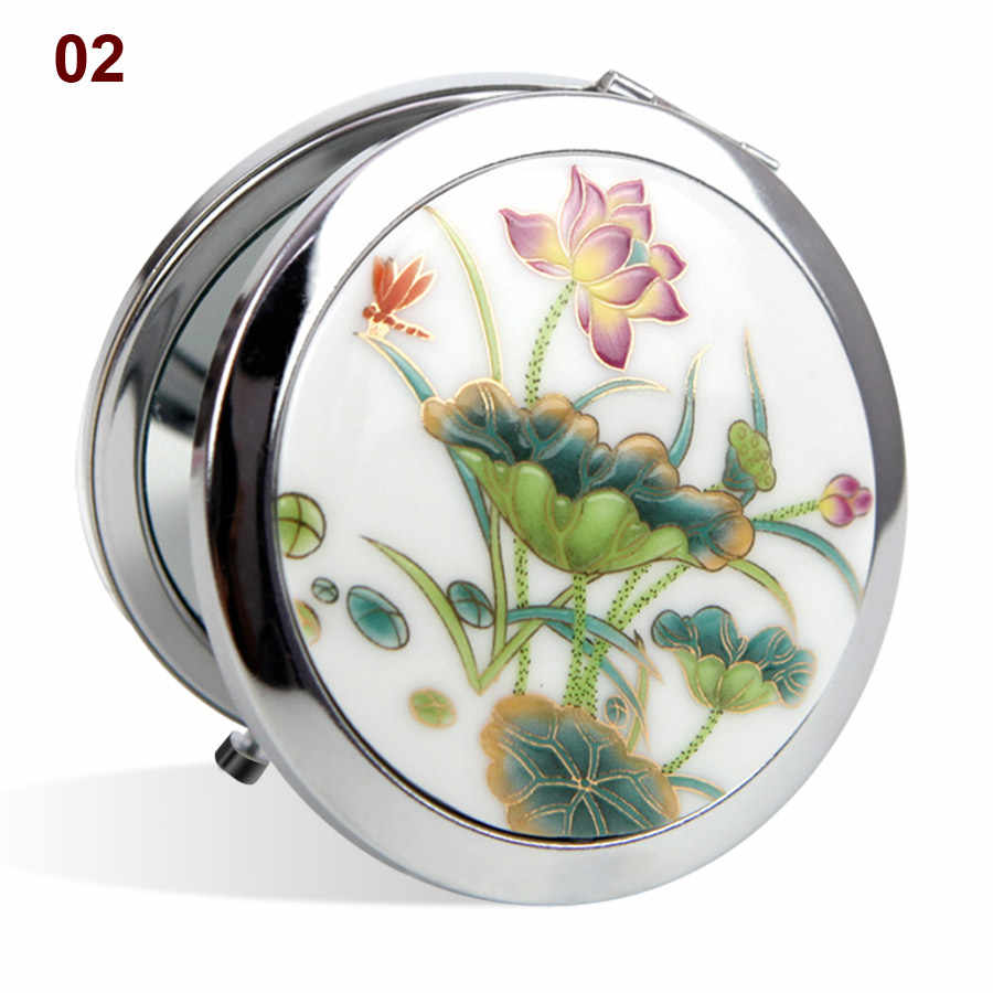 Makeup Mirror White and Red Porcelain Pocket Mirror Compact Folded Portable Small Round Hand Mirror Makeup Vanity Metal Cosmetic