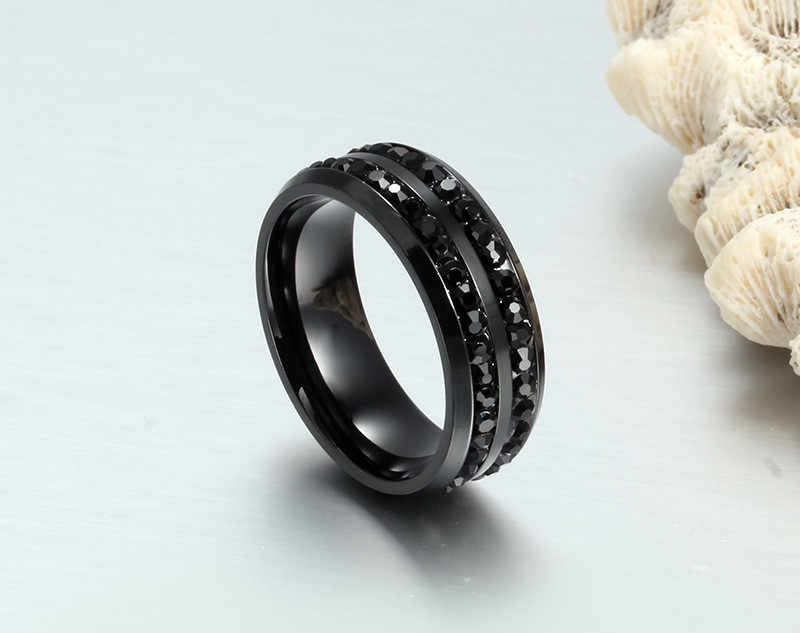 LETAPI 2019 ใหม่สีดำแหวนคริสตัลสำหรับสองแถวแหวนหญิงอินเทรนด์สแตนเลสเครื่องประดับงานแต่งงาน