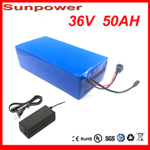 High quality 1000W 36V 50AH Electric Bicycle Battery 36V Lithium Battery 36V 50AH E-bike battery 30A BMS  charger free shipping