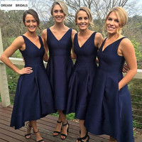 Navy Blue A Line Sexy V Neck Bridesmaid Dresses For Wedding Party Simple Pleat Wedding Guest Dress Stain Dress 2019