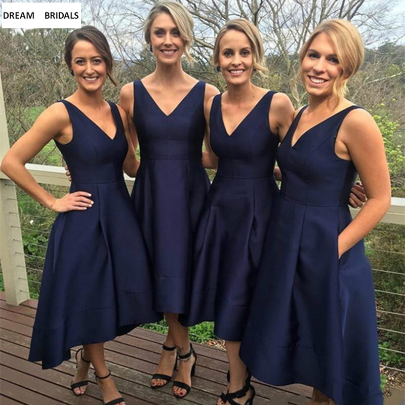 Navy Blue A-Line Sexy V-Neck   Bridesmaid     Dresses   For Wedding Party Simple Pleat Wedding Guest   Dress   Stain   Dress   2019