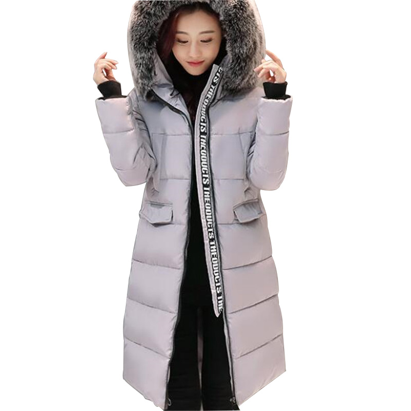 Women Winter Coats Fashion Large Fur Hood Colorful Striped Thicker Cotton Padded Parka Big Size High Quality Winter Jacket
