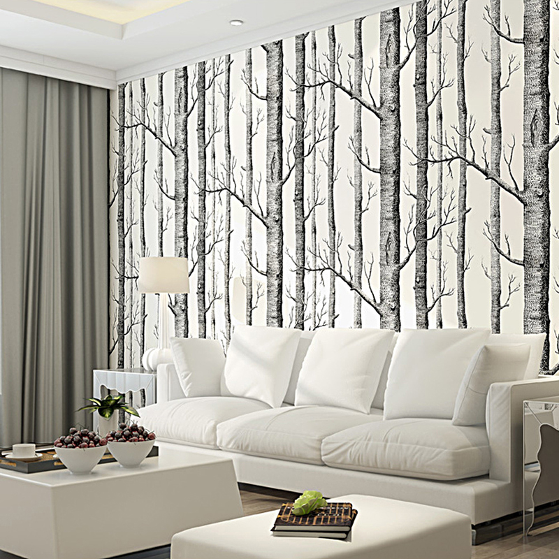 Black White Birch Tree 3D Wallpaper For Bedroom Modern European Design Living Room Wall Paper Roll Rustic Forest Woods