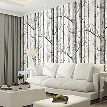 Black White Birch Tree 3D Wallpaper for Bedroom Modern European Design Living Room Wall Paper Roll Rustic Forest Woods