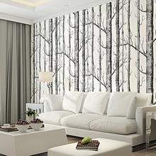 цены Black White Birch Tree 3D Wallpaper for Bedroom Modern European Design Living Room Wall Paper Roll Rustic Forest Woods