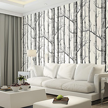 Black White Birch Tree 3D Wallpaper for Bedroom Modern European Design Living Room Wall Paper Roll Rustic Forest Woods(China)