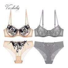 Varsbaby Sexy Women Transparent Lace Deep V Lingerie Ultra thin 2 Bra Sets/Lot